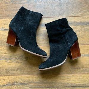 Kork-Ease | Black Suede Heeled Zip-up Boot 8.5